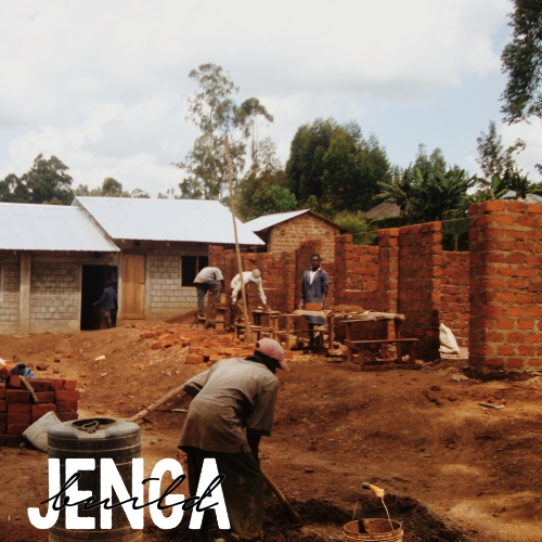 Kenyan Men build the new brick and cement classrooms at Neema Nuru Academy