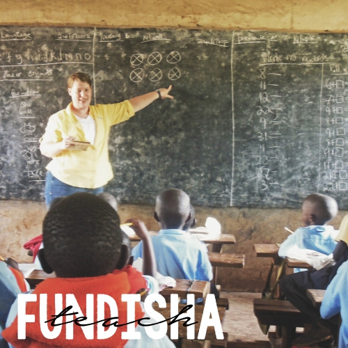 Sharon is standing in front of a class of Kenyan preschoolers teaching about the number 6.